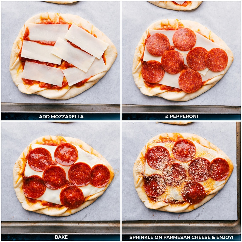 Process shots-- Add mozzarella and pepperoni to the pizza; bake; sprinkle with Parmesan cheese.