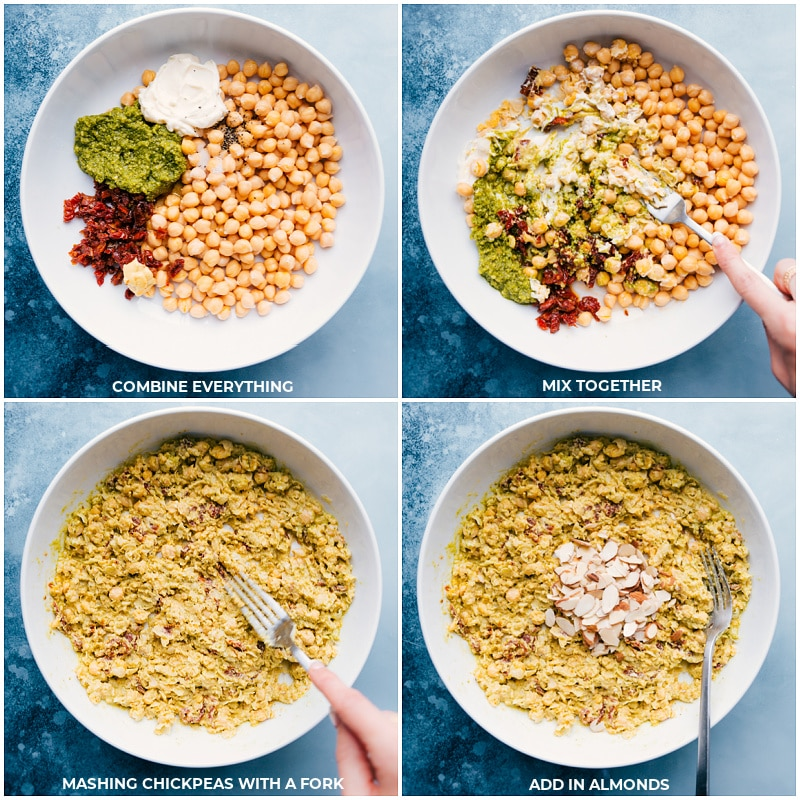 Process shots-- add all ingredients to a bowl; mash together with a fork; add in almonds.