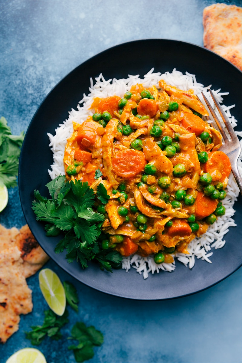 Overhead image of the Quick Chicken Curry on a plate over a bed of rice