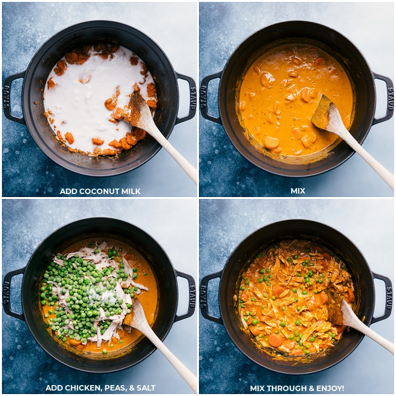 Process shots-- images of the coconut milk, chicken, peas, and salt being added and mixed together