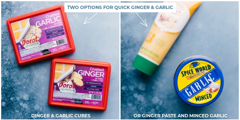 Process shots-- images of the ginger and garlic time savers that can be used in this dish