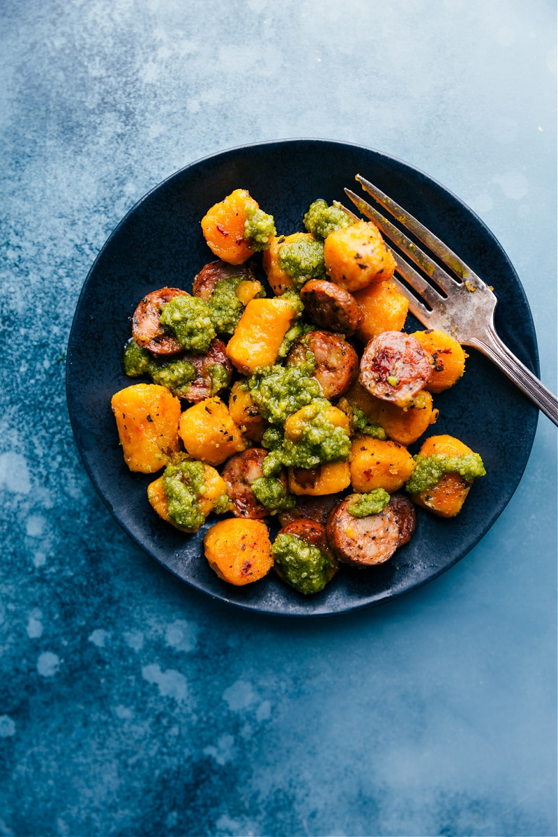 Up close overhead image of the roasted sweet potato & sausage with pesto
