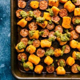 Roasted Sweet Potato & Sausage with Pesto