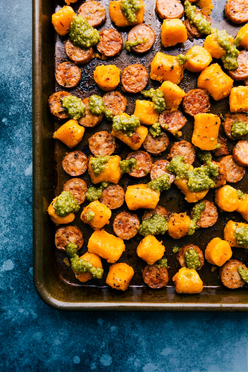 Roasted Sweet Potato and Sausage with Pesto