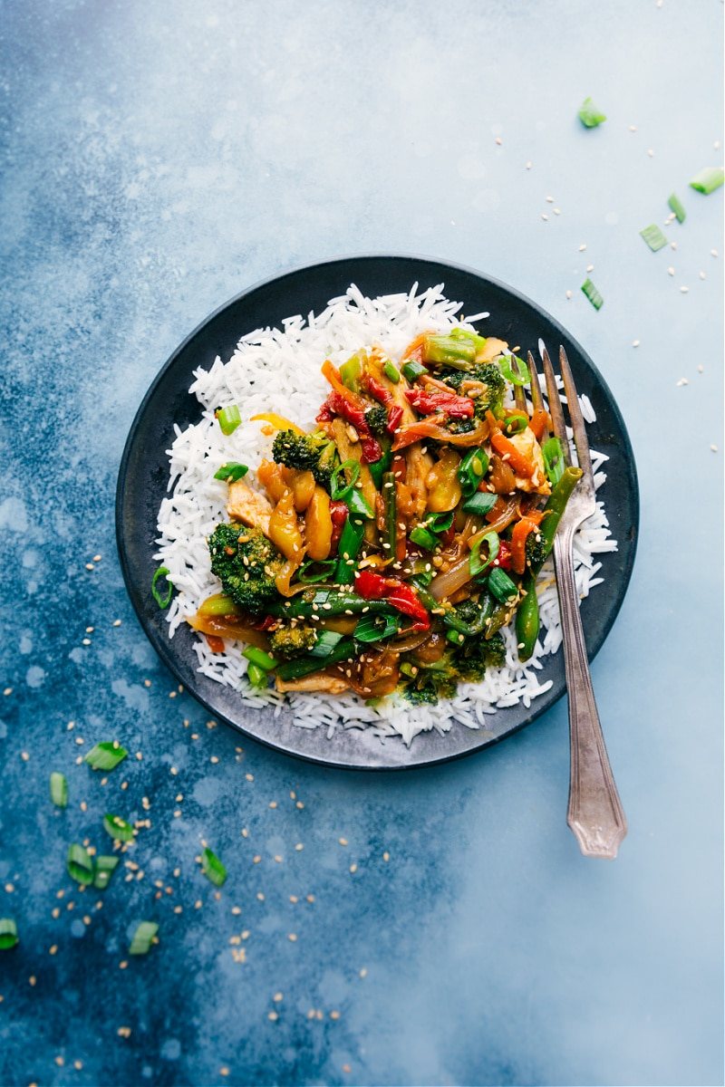 Rotisserie Chicken Stir-Fry on a plate with rice