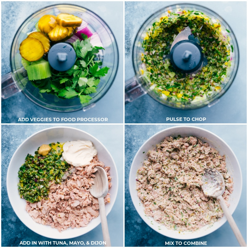 Process shots-- add ingredients to the food processor; pulse to chop; combine with tuna and mayo; mix well.