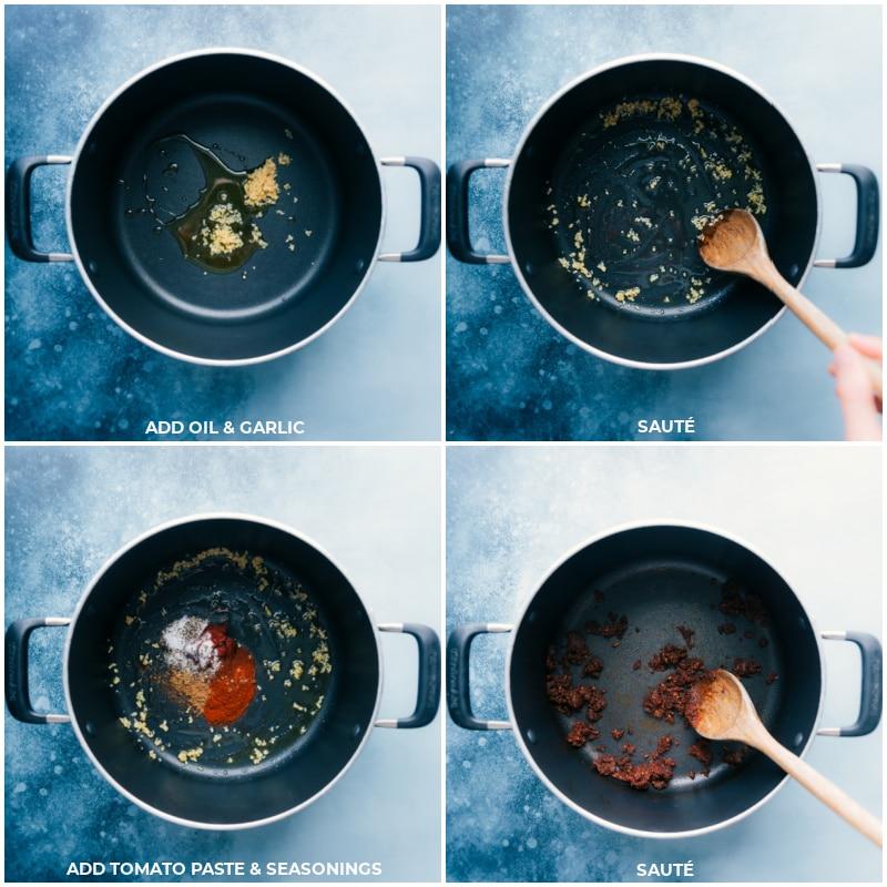 Process shots of the vegetarian chili Mac-- oil, garlic, tomato paste, and seasonings being sautéed