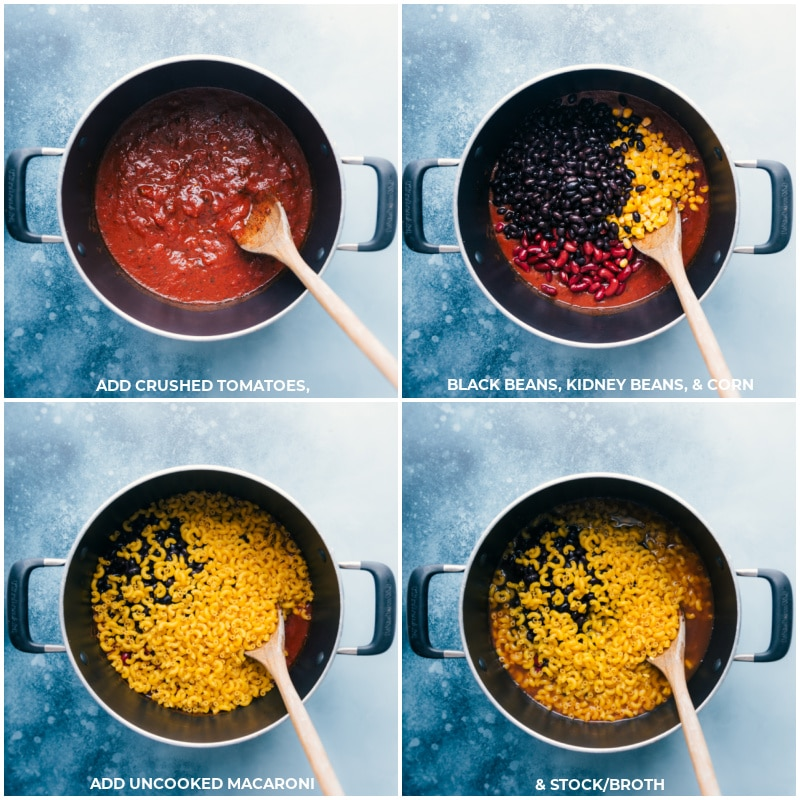 Process shots-- images of the crushed tomatoes, black beans, kidney beans, corn, macaroni, and vegetable stock added to the pot