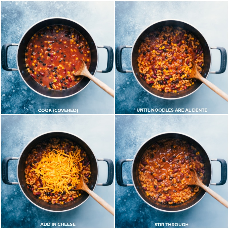 Process shots of vegetarian chili Mac-- noodles being cooked and cheese being added to all of it and mixed together