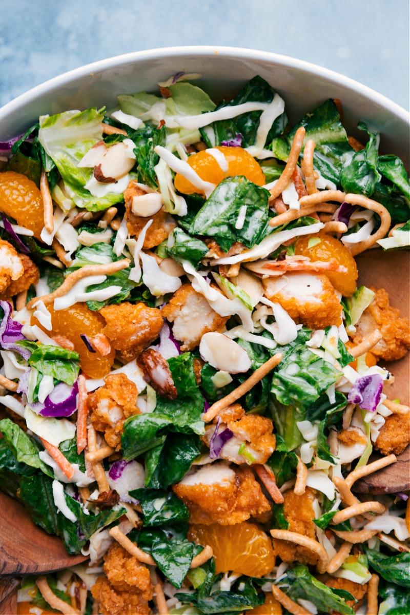 Up close overhead image of the copycat Applebees chicken salad