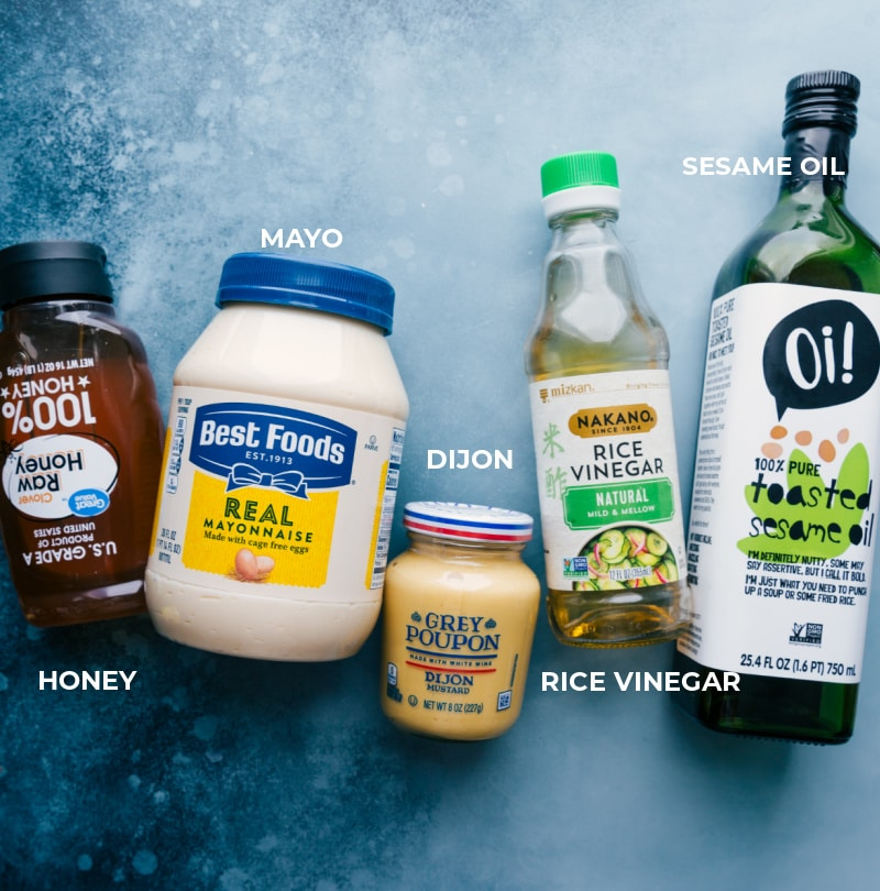 Ingredient shot--image of all the dressing ingredients used in this Applebees chicken salad