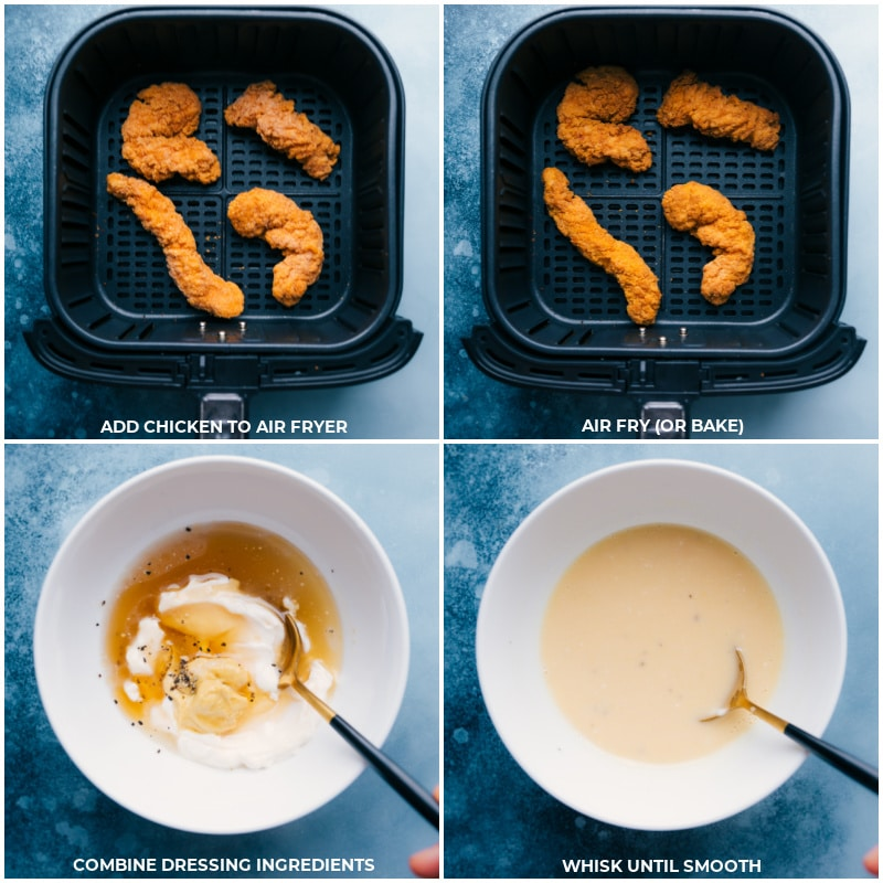 Process shots--cooking the chicken; combining the dressing ingredients; whisking until smooth.