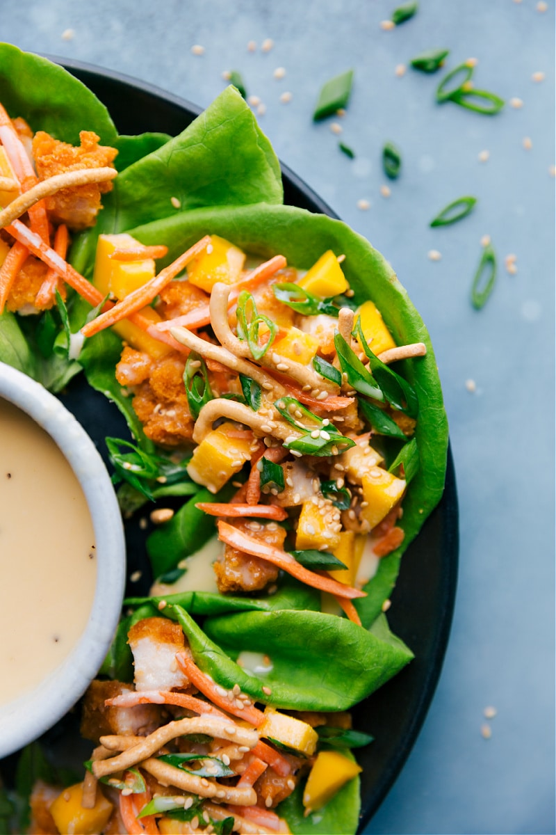 Asian Chicken Lettuce Wraps on a plate