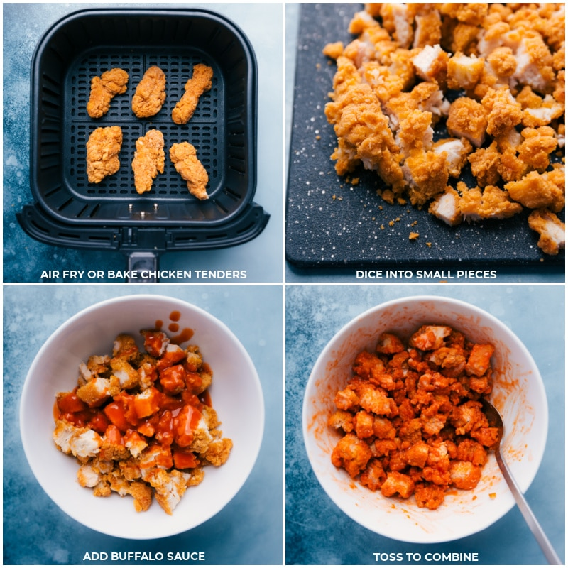 Process shots-- images of the chicken being fried and the buffalo sauce being added