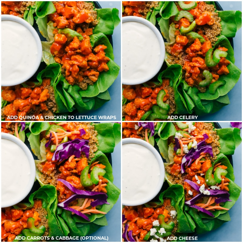 Process shots-- images of the quinoa, chicken, celery, carrots, cabbage, and cheese being added to these Buffalo Chicken Lettuce Wraps