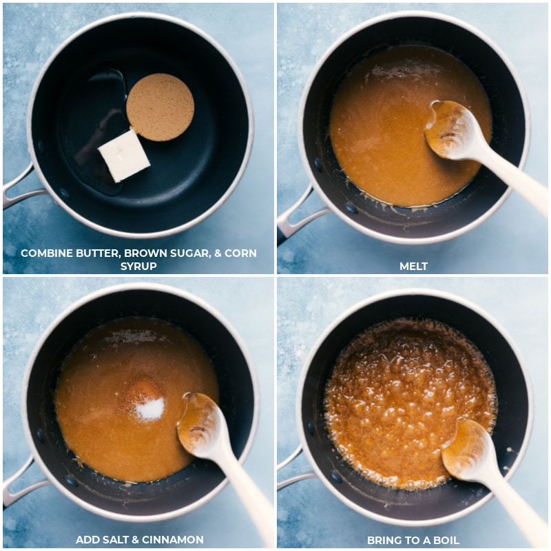 Process shots: combining ingredients for Churro Cheerios caramel sauce; melting together; adding salt and cinnamon; bringing to a boil.