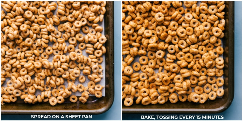 Spread cereal mixture on a sheet pan; bake and mix every 15 minutes.