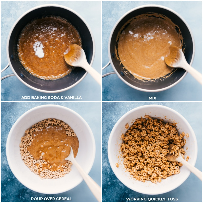 Process shots: add baking soda and vanilla to the syrup mixture; mix; pour over cereal; work quickly and toss to mix.