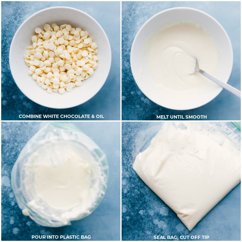 Process shots-- images of the white chocolate being melted and poured into a bag to pipe over the popcorn