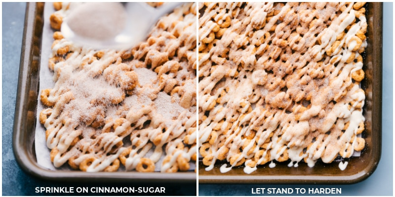 Process shots: Sprinkle on cinnamon-sugar mixture; let stand to harden