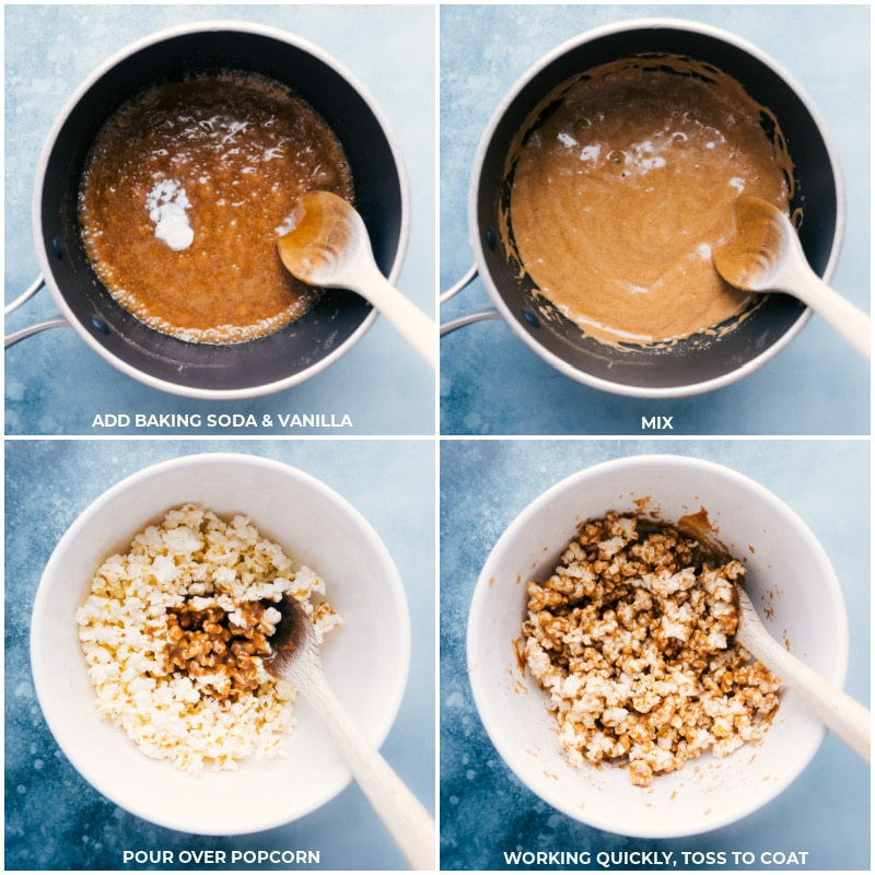 Process shots of Cinnamon Roll Popcorn-- the baking soda and vanilla being added to the pot and then the cinnamon sugar mixture being poured over the popped popcorn