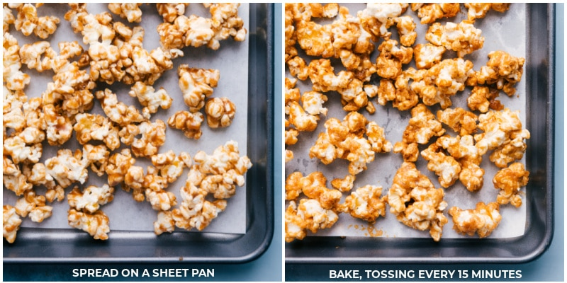 Process shots-- images of the popcorn being spread on a baking sheet to bake, tossing every 15 minutes