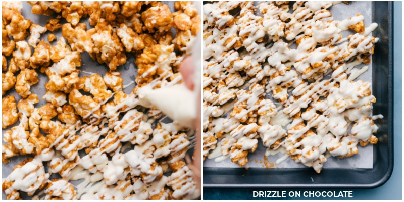 Process shots: drizzling the white chocolate over the popcorn.