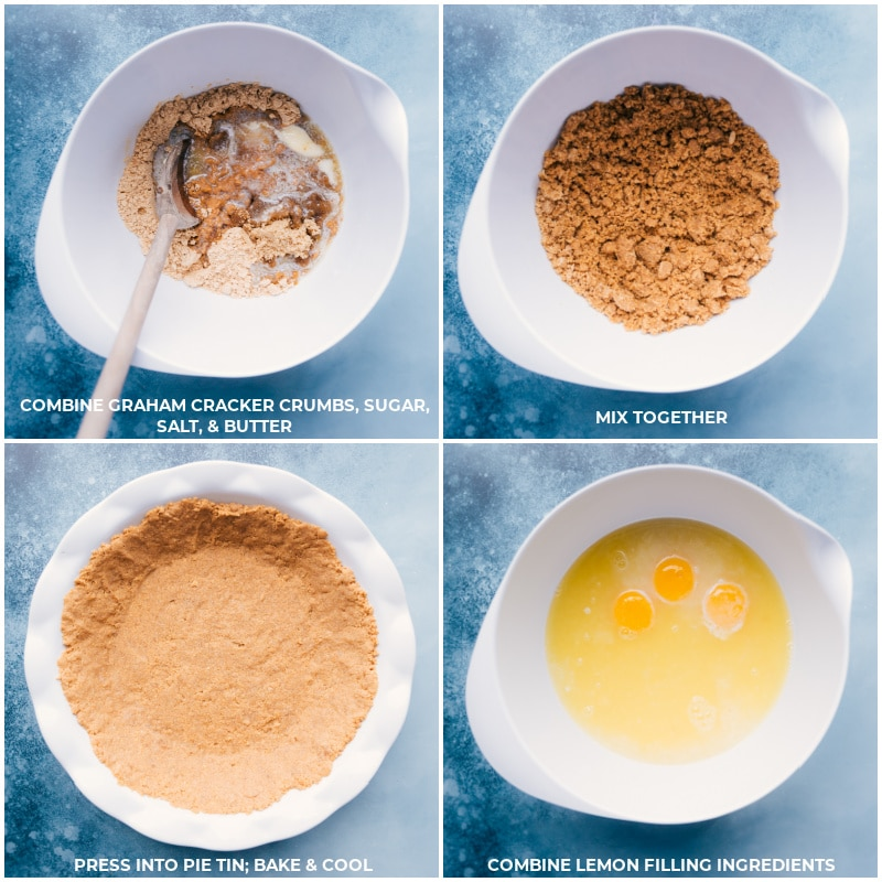 Process shots-- images of the crust being prepped and baked and the lemon filling ingredients being added to a bowl
