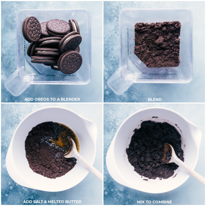 Process shots-- Oreos being blended and then mixed with salt and butter