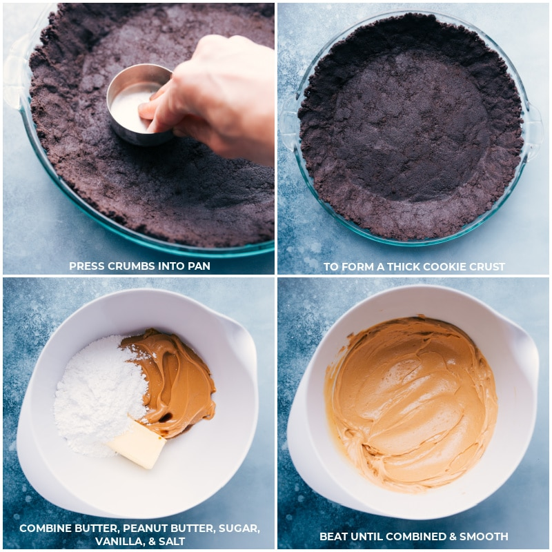 Process shots--press crumbs into pan to form a thick cookie crust; combine filling ingredients; beat until smooth.