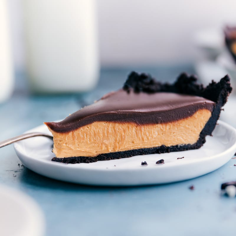 A slice of the Chocolate Peanut Butter Pie on a plate