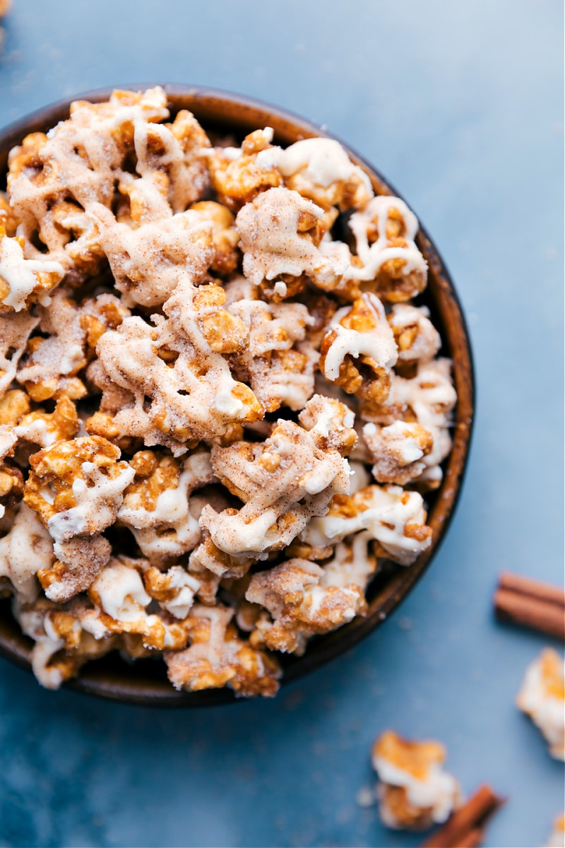 Up-close overhead image of the Cinnamon Roll Popcorn ready to be eaten