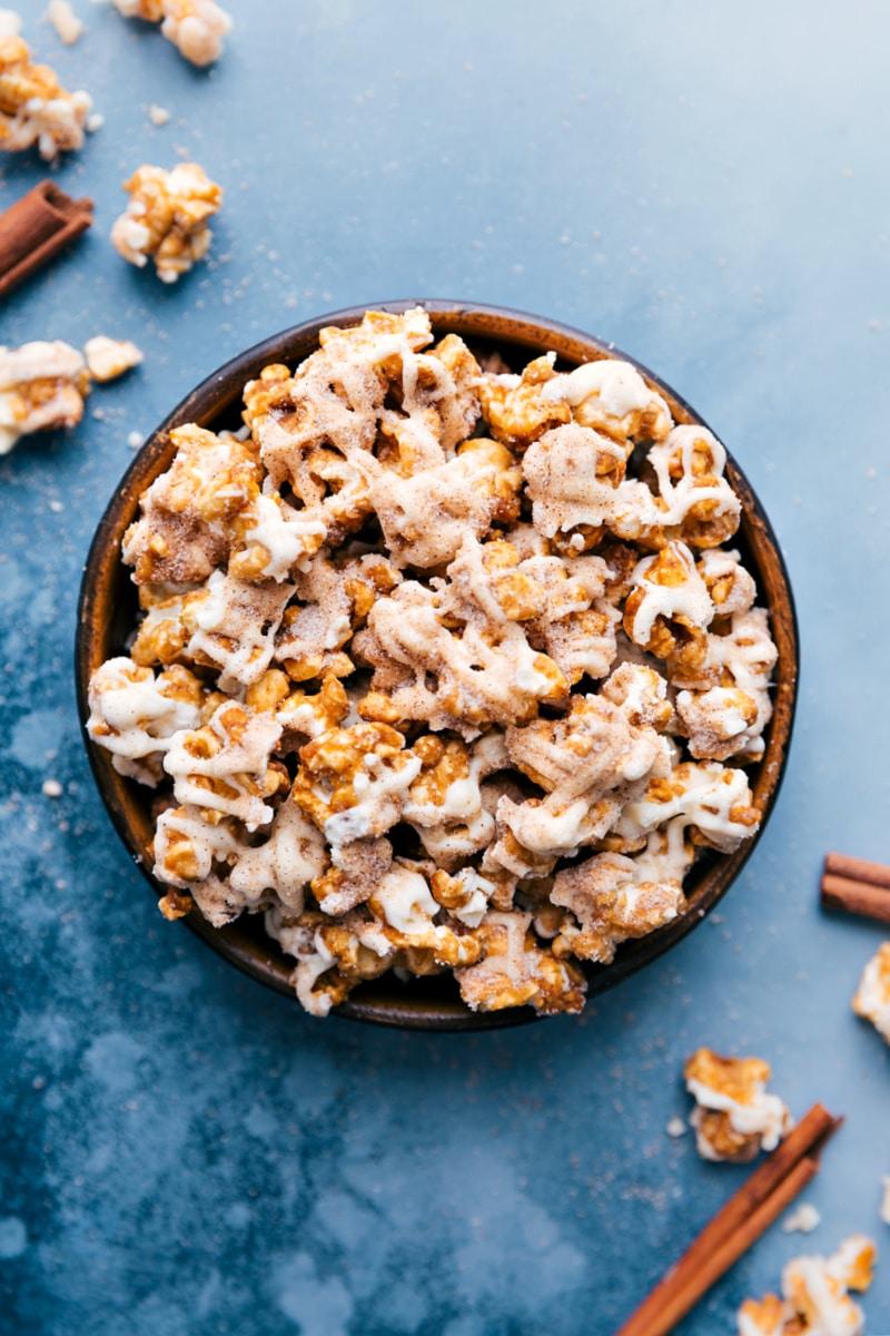 Overhead image of the Cinnamon Roll Popcorn