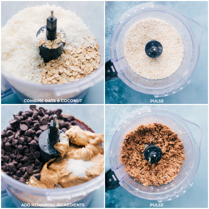 Process shots-- images of the oats and coconut being pulsed together; the remaining ingredients being added