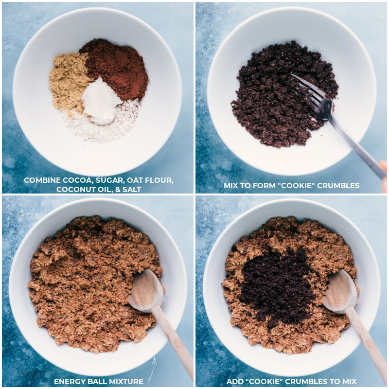 Process shots-- images of the cookies and cream crumbles being made and added to the energy ball mixture