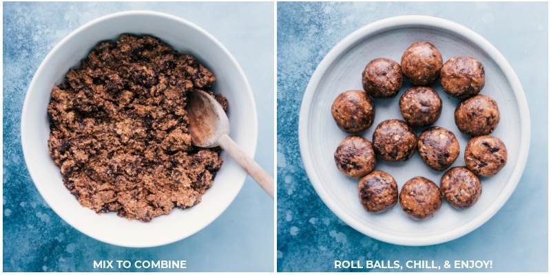 Images of the Cookies and Cream Energy Bites dough in a bowl and then the dough balls being rolled out
