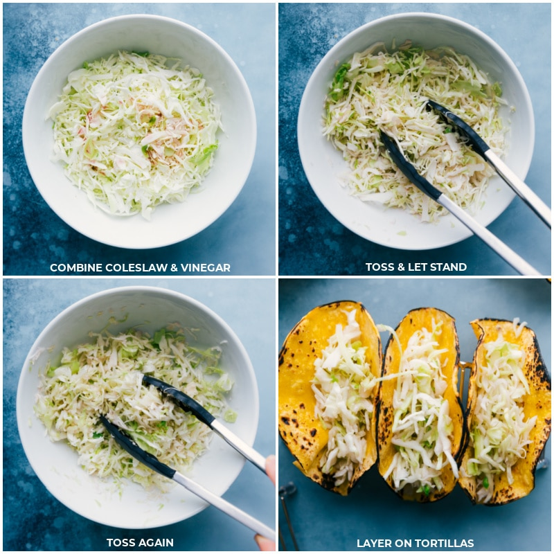 Process shots of fish stick tacos-- images of the coleslaw being mixed together and layered in the tortillas