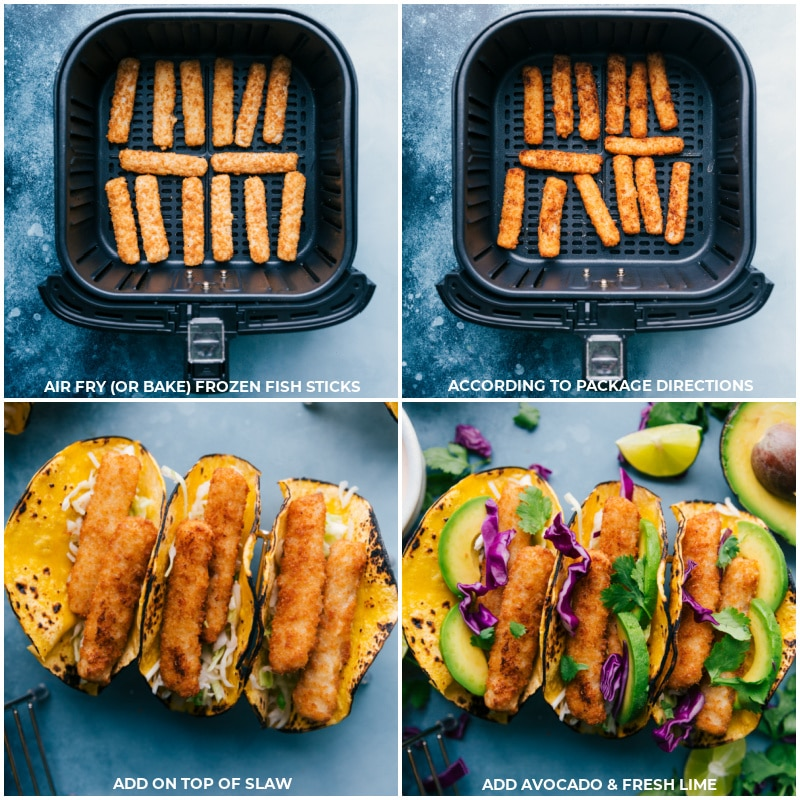 Process shots-- images of the fish sticks being air fried and then added on top of the slaw in the tortillas