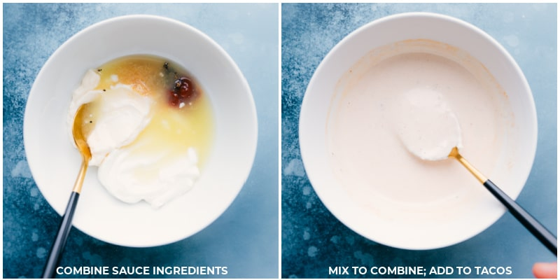 Process shots-- images of the crema sauce being made