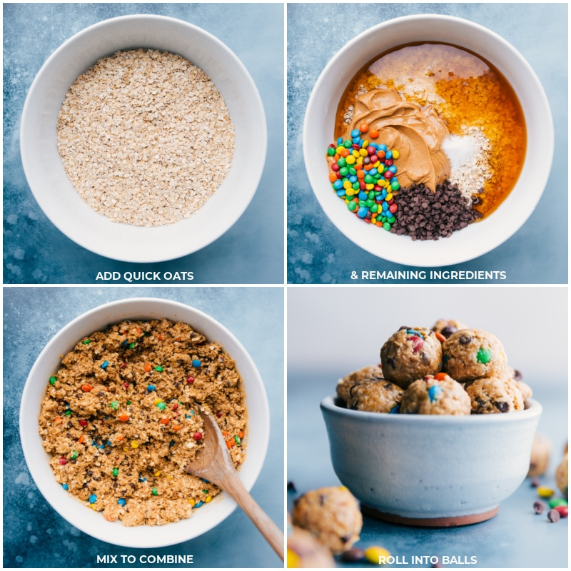 Process shots-- images of the oats, and remaining ingredients being added to the bowl and rolled into balls