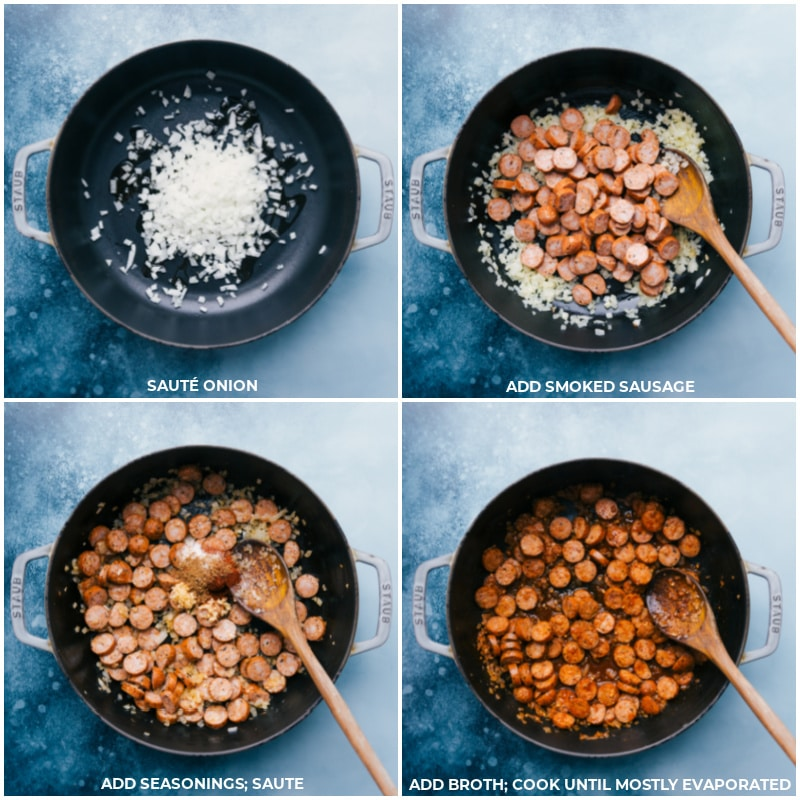 Process shots-- images of the onion, sausage, seasonings, and broth being added to this dish