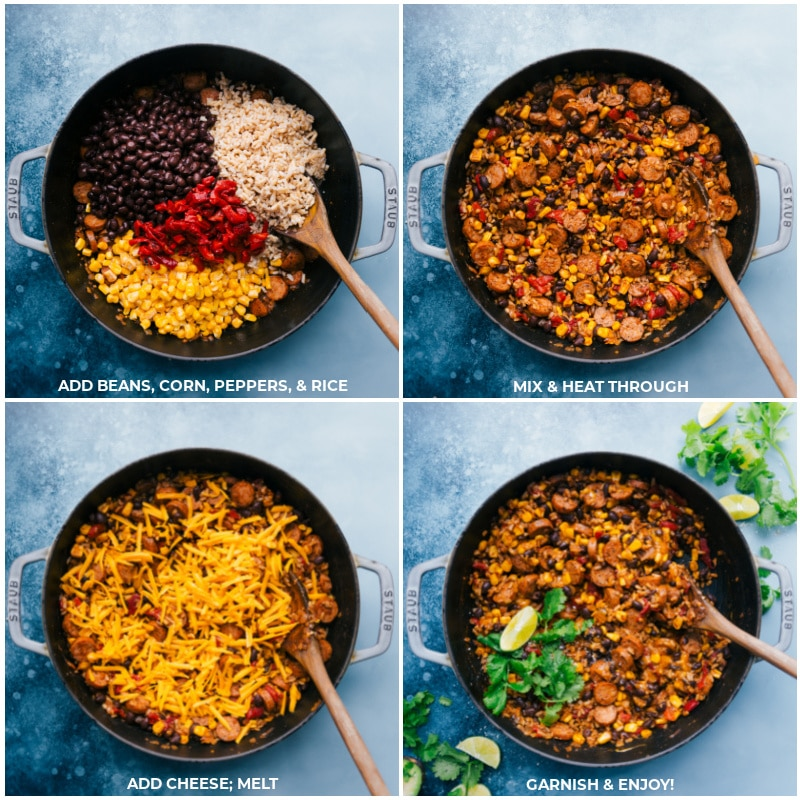 Process of Sausage and Rice meal-- image of the beans, corn, peppers, rice, and cheese being added
