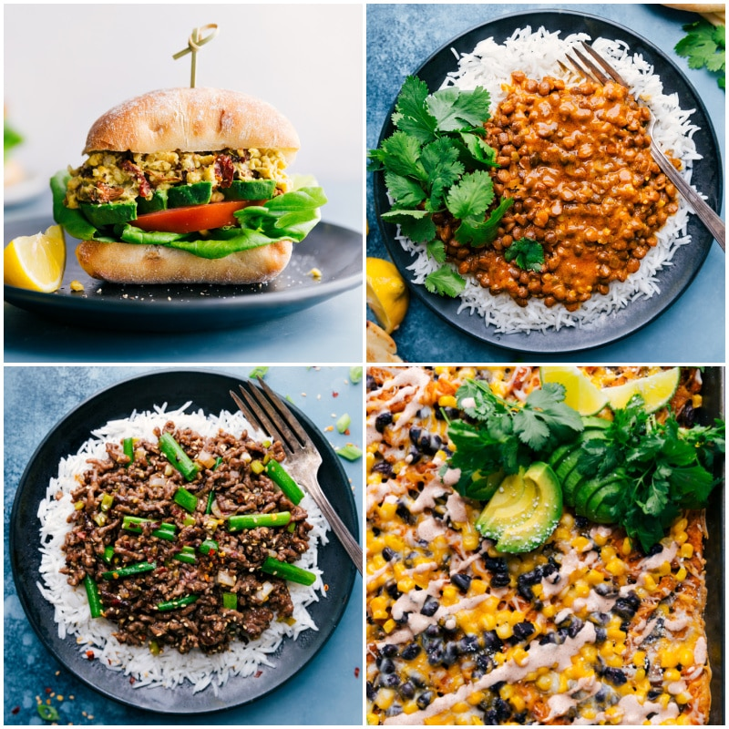 Collage of dinner ideas for back-to-school time