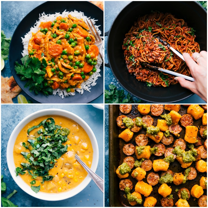 Collage of back-to-school dinner recipes