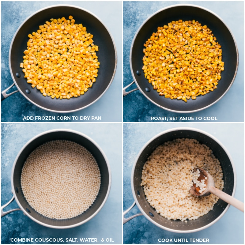 Process shots: add frozen corn to dry pan; roast and set aside to cool; combine couscous ingredients; cook until tender.
