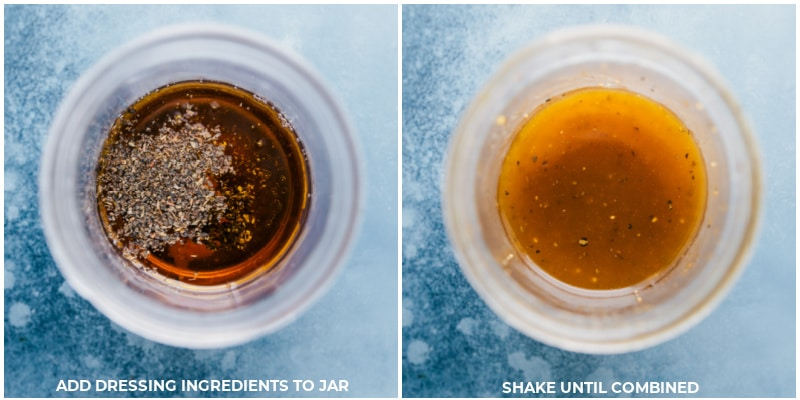 Process shots: making the dressing by combining ingredients in a jar and shaking until combined.