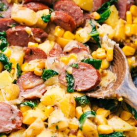 Smoked Sausage, Potatoes, & Corn (One Skillet)
