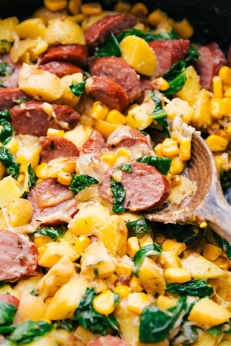 Up close image of the smoked sausage, potatoes, and corn ready to be served