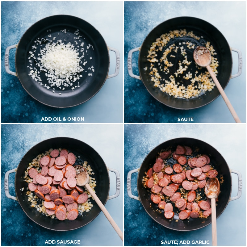 Process shots-- images of the onion, sausage, and garlic being sautéed for this smoked sausage, potatoes, and corn dinner