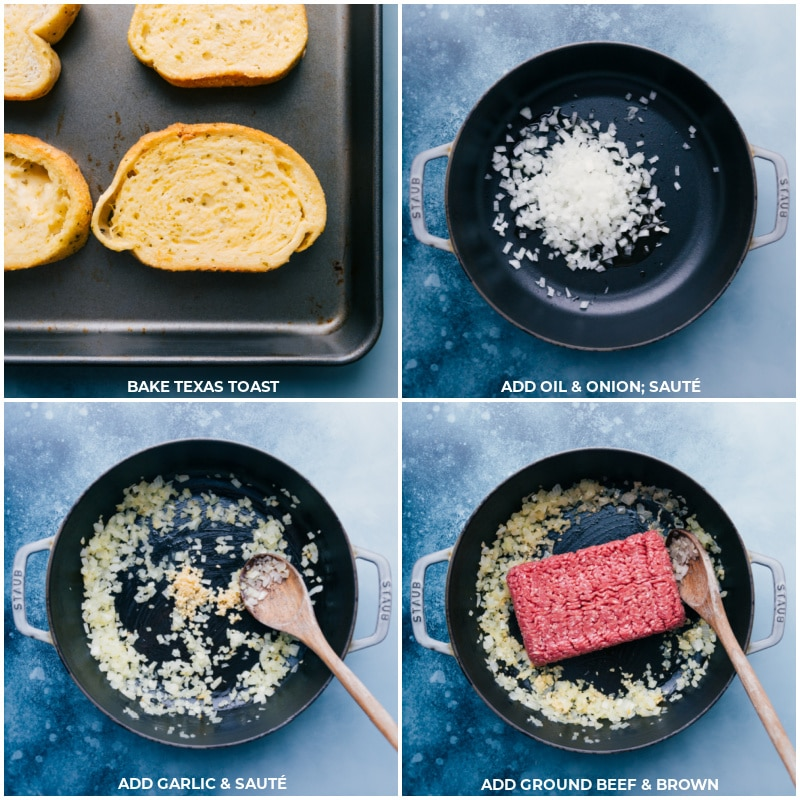 Process shots--toast the bread; add oil and onion to a pan and sauté; add garlic, beef and continue.